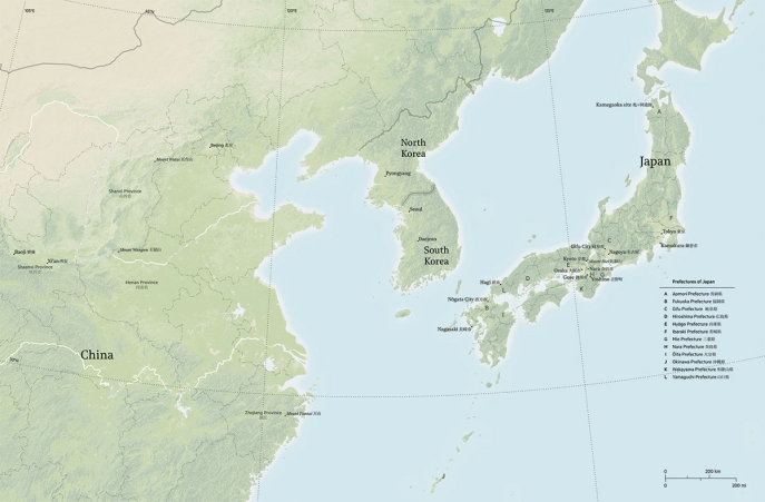 Map of East Asia with sites. Map designed by Anandaroop Roy.