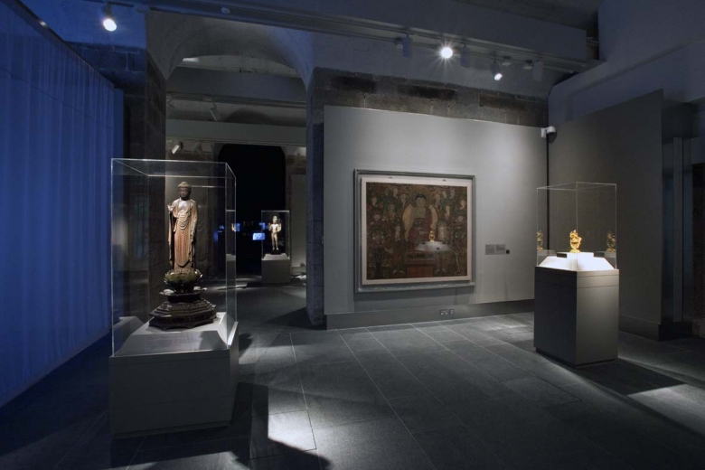 Installation view of Transforming Minds: Buddhism in Art