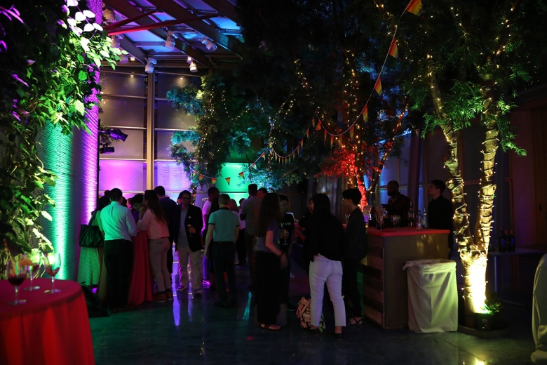 The Garden Court Café during a special Pride-themed First Friday Leo Bar