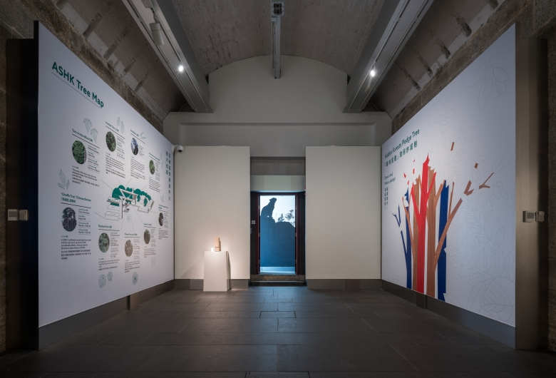 A view of a gallery chamber with infographics on walls.