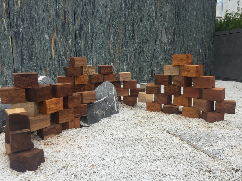Wooden blocks on the floors as an art installation