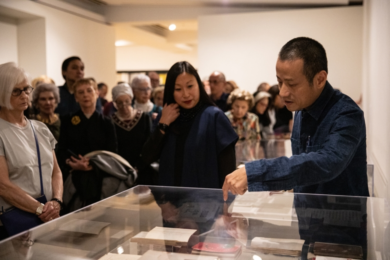 Asia Society's Michelle Yun and artist Xiaoze Xie lead a tour of 'Objects of Evidence'