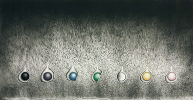 Genesis 1980s Ink and color on xuan paper 93 x 177 cm Private collection