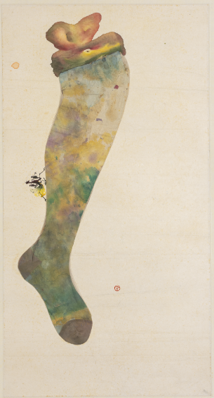 Untitled (Mantis on Ladies Stocking) 1960, Ink, color and mixed media on xuan paper, 85 x 45 cm, Collection of Studio of Gentleness and Ardour