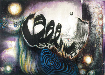 Purple Universe 1996 Ink, color and acrylic on hemp paper 152 x 211 cm Take a Step Back Collection