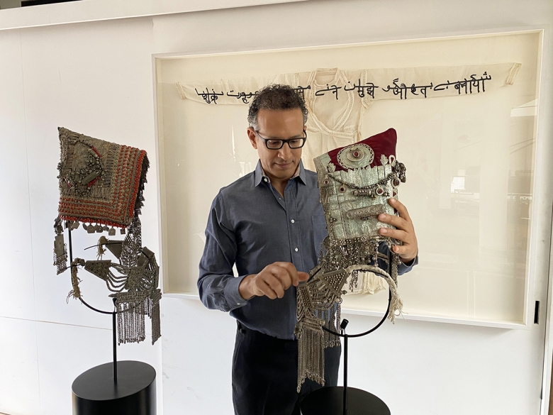 Ghiora Aharoni working on the Yemenite Headdress Sculpture Series (work-in-progress)