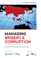 Asia Taskforce Discussion paper 'Managing Bribery and Corruption' cover