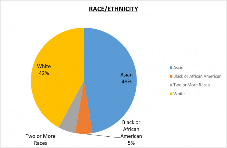 Global Leadership Race/Ethnicity Pie Chart White 42%, Asian 48%, Black or African American 5%, Two or more races 5%