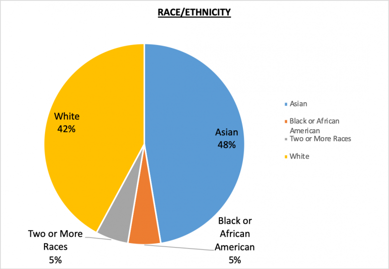 Global Staff Race and Ethnicity Pie Chart 42% White, 48% Asian, Black or African American 5%, Two or more races 5%