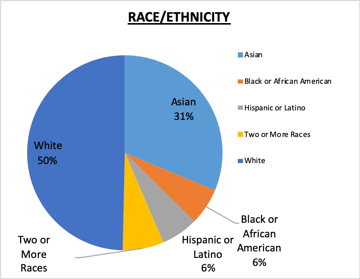 501(c)(3) Staff Race/Ethnicity Pie Chart 50% White, 31% Asian, 6% Black or African American, 6% Hispanic or Latino, 6% Two or more races