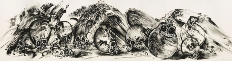 A black and white horizontal drawing of several skulls that seem to be tumbling across the ground.